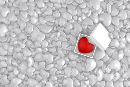 Heart in a Box, 3D Illustration of High Resolution Rendering. Red and white colored Stock Photo