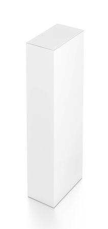 tall: White tall vertical rectangle blank box from top far side angle. 3D illustration isolated on white background.