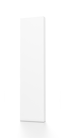 far: White tall thin vertical rectangle blank box from front far side angle. 3D illustration isolated on white background.