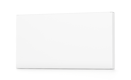 far: White wide thin horizontal rectangle blank box from front far side angle. 3D illustration isolated on white background. Stock Photo