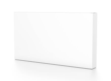 White wide thin horizontal rectangle blank box from side angle. 3D illustration isolated on white background. Фото со стока - 58515513