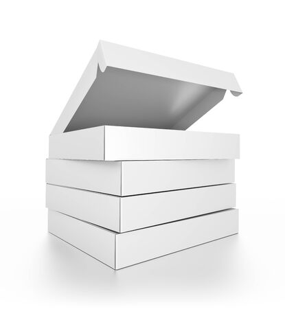 3d pizza: Closeup group of white blank pizza boxes isolated on white background. High resolution 3D illustration. Stock Photo