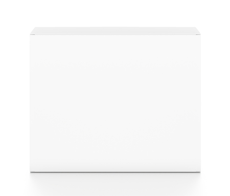 front angle: White horizontal rectangle blank box from top front angle. 3D illustration isolated on white background.