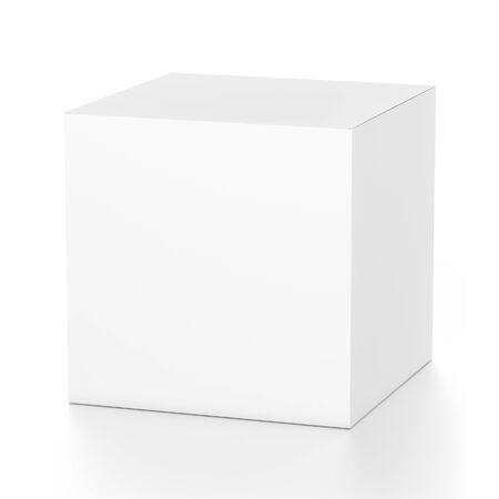 far: White cube blank box from top front far side angle. 3D illustration isolated on white background. Stock Photo