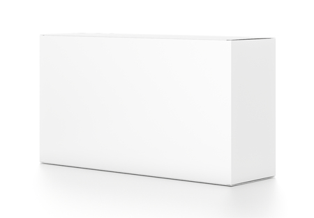 wide: White wide horizontal rectangle blank box from side angle. 3D illustration isolated on white background.
