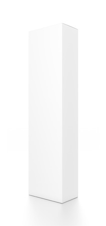 tall: White tall vertical rectangle blank box from side angle. 3D illustration isolated on white background.