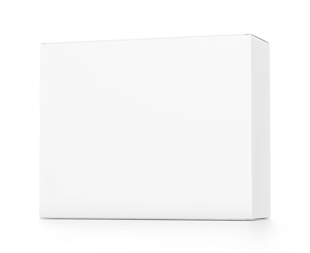 far: White horizontal rectangle blank box from front far side angle. 3D illustration isolated on white background.