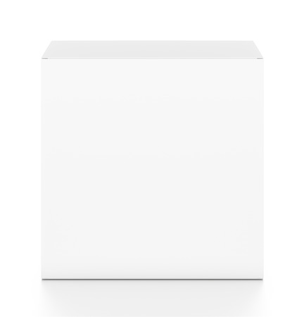 White rectangle blank box from top front angle. 3D illustration isolated on white background.