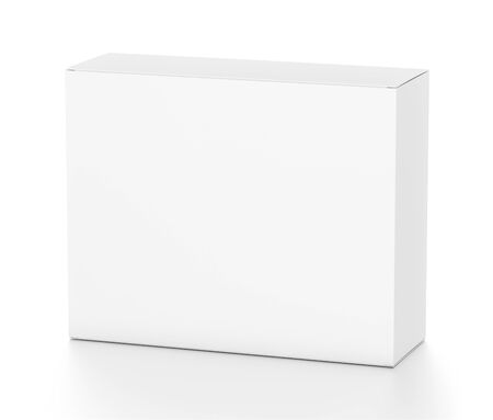 far: White horizontal rectangle blank box from top front far side angle. 3D illustration isolated on white background.