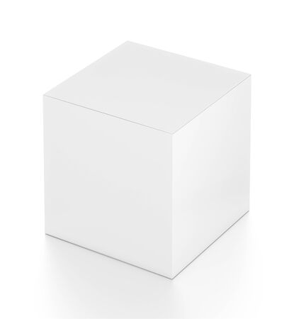 far: White cube blank box from top far side angle. 3D illustration isolated on white background. Stock Photo