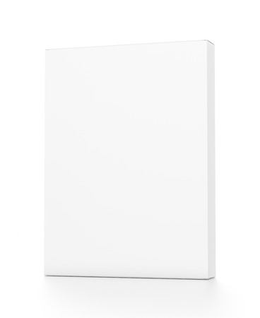 White thin vertical rectangle blank box from front far side angle. 3D illustration isolated on white background.