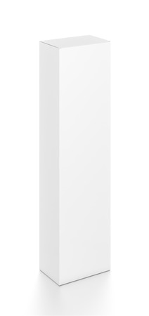 tall: White tall vertical rectangle blank box from top front side angle. 3D illustration isolated on white background. Stock Photo
