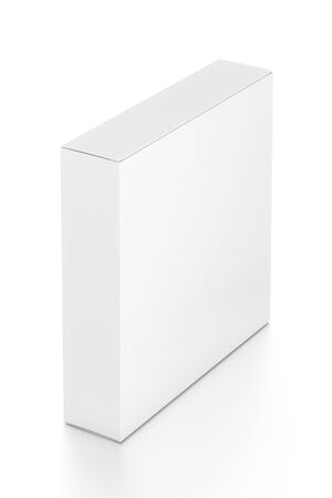 far: White thin rectangle blank box from top far side angle. 3D illustration isolated on white background. Stock Photo