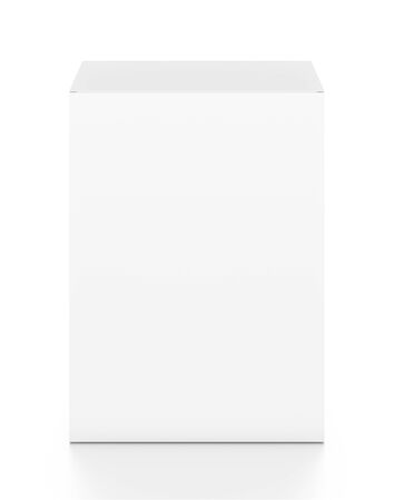 White vertical rectangle blank box from top front angle. 3D illustration isolated on white background. Stok Fotoğraf - 58514531