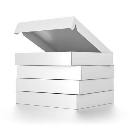 Group of white blank pizza boxes isolated on white background. High resolution 3D illustration.
