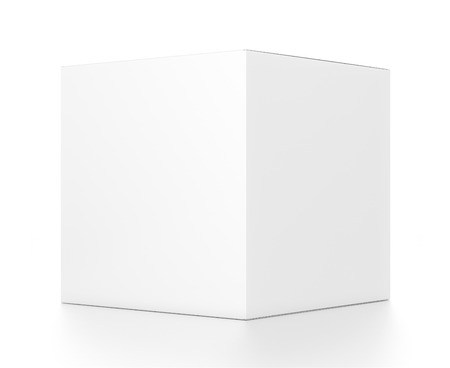 White cube blank box from side angle. 3D illustration isolated on white background.