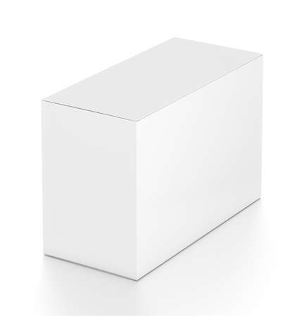 far: White wide horizontal rectangle blank box from top far side angle.