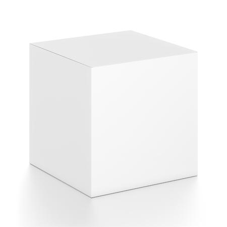 cubo casella vuota bianca dall'alto angolo laterale anteriore. illustrazione 3D isolato su sfondo bianco.