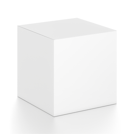 white blank: White cube blank box from top front side angle. 3D illustration isolated on white background.
