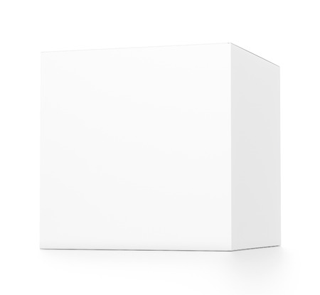 far: White cube blank box from front far side angle. 3D illustration isolated on white background. Stock Photo