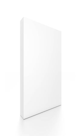 tall: White tall thin vertical rectangle blank box from front side angle. 3D illustration isolated on white background.