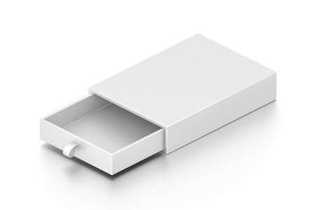 Isometric white drawer blank box isolated on white background. High resolution 3D illustration.
