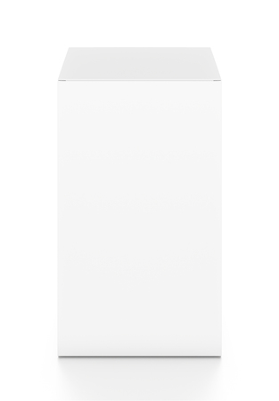 White tall vertical rectangle blank box from top front angle. 3D illustration isolated on white background. Stok Fotoğraf