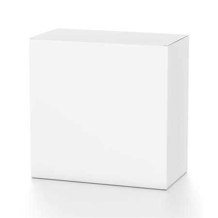 far: White rectangle blank box from top front far side angle. 3D illustration isolated on white background. Stock Photo
