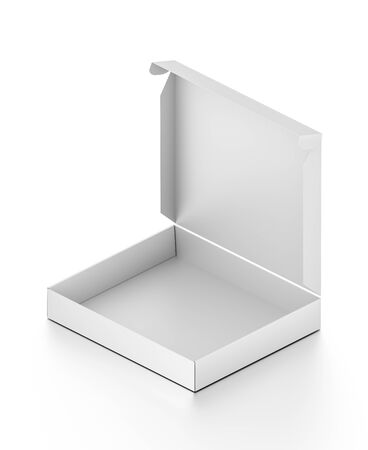 3d pizza: Isometric white open blank pizza box isolated on white background. High resolution 3D illustration. Stock Photo