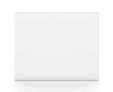White rectangle horizontal blank box from front angle. 3D illustration isolated on white background.