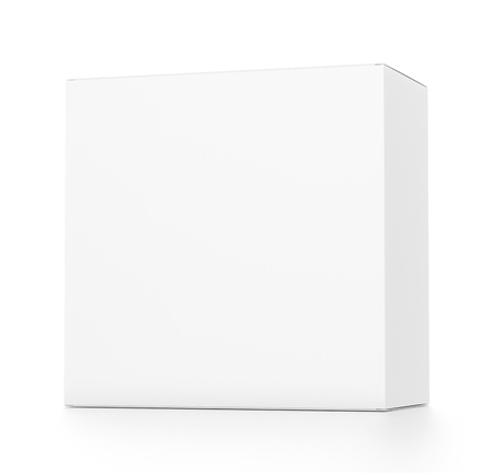 White rectangle blank box from front far side angle. 3D illustration isolated on white background. Stok Fotoğraf