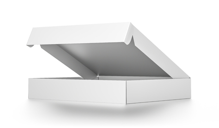 pizza box: White open blank pizza box isolated on white background. High resolution 3D illustration. Stock Photo