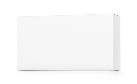 far: White wide horizontal rectangle blank box from front far side angle. 3D illustration isolated on white background.
