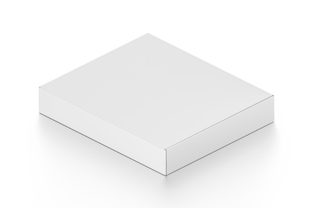 pizza box: Isometric white blank pizza box isolated on white background. High resolution 3D illustration. Stock Photo