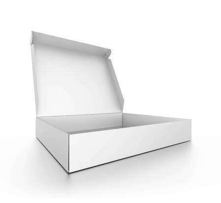 pizza box: Closeup white open blank pizza box isolated on white background. High resolution 3D illustration. Stock Photo