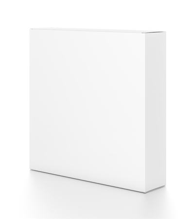 White thin rectangle blank box from side angle. 3D illustration isolated on white background.