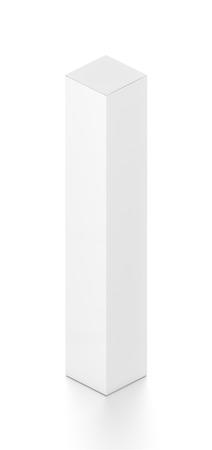 tall: White tall vertical rectangle blank box from isometric angle. 3D illustration isolated on white background.
