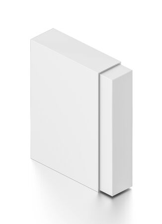 tall: Isometric white tall rectangle blank box isolated on white background. High resolution 3D illustration. Stock Photo