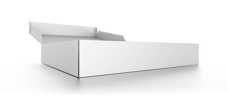 pizza box: caja de pizza en el primer blanco abierto en blanco aislado en fondo blanco. Ilustración de alta resolución 3D. Foto de archivo