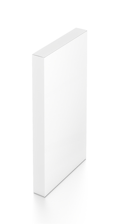 tall: White tall thin vertical rectangle blank box from top far side angle. 3D illustration isolated on white background.