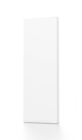 tall: White tall thin vertical rectangle blank box from front far side angle. 3D illustration isolated on white background.