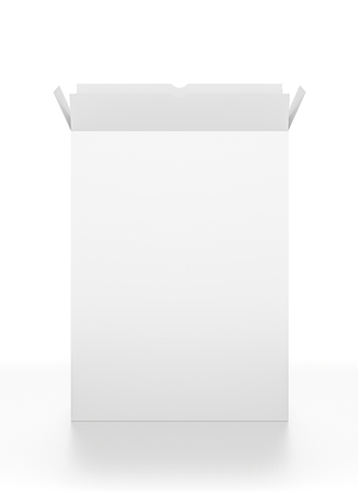 box open: Open white tall rectangle blank box isolated on white background. High resolution 3D illustration.