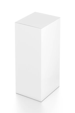 far: White vertical rectangle blank box from top far side angle. 3D illustration isolated on white background.