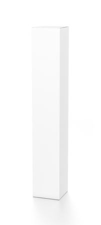 far: White tall vertical rectangle blank box from top front far side angle. 3D illustration isolated on white background.