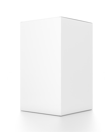 blank template: White tall vertical rectangle blank box from side angle. 3D illustration isolated on white background.