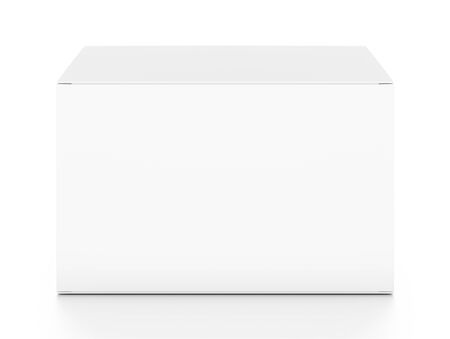 White horizontal rectangle blank box from top front angle. 3D illustration isolated on white background.