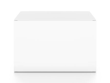 Witte horizontale rechthoek lege doos van boven voorste hoek. 3D illustratie op een witte achtergrond.