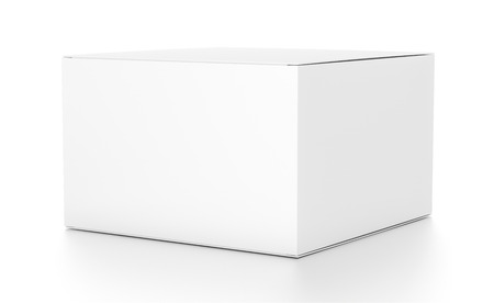 White horizontal rectangle blank box from side angle. 3D illustration isolated on white background.