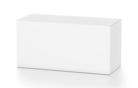wide angle: White wide horizontal rectangle blank box from top side angle. 3D illustration isolated on white background.
