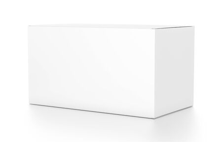 product box: White wide horizontal rectangle blank box from side angle. 3D illustration isolated on white background.